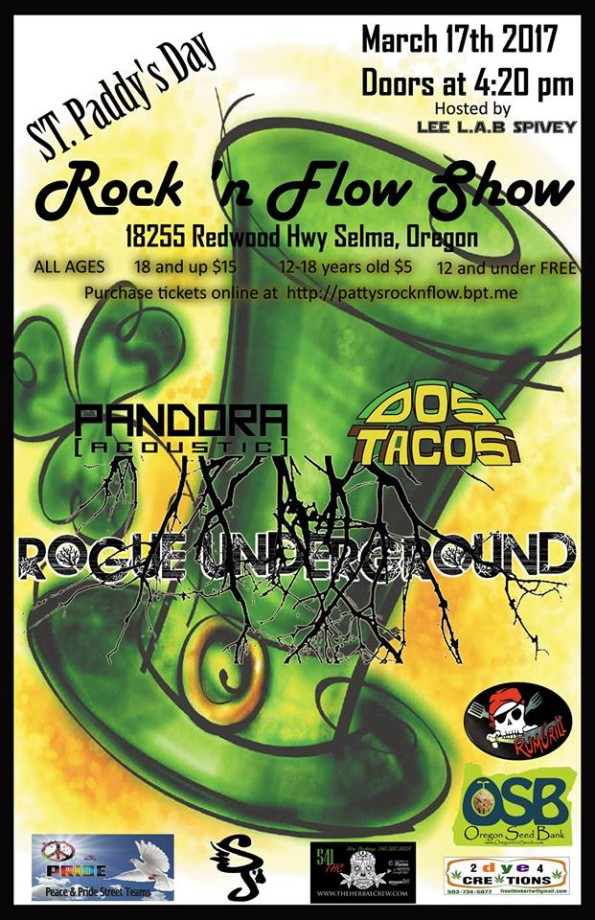 3/17/2017: St. Paddy's Day Rock 'N Flow Show wPandora Acoustic, Dos Tacos & The Rogue Underground @ The Selma Community Center