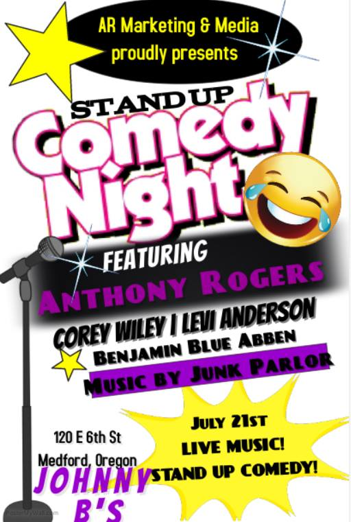 7/21/2017: Stand Up Comedy Night ft. Anthony Rogers, Corey Wiley, Levi Anderson & Benjamin Blue Abben @ Johnny B's (Medford, OR)