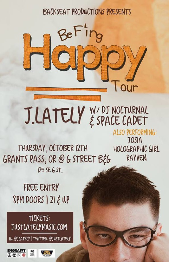 10/12/2017: J. Lately w/DJ Nocturnal & Space Cadet @ G Street Bar & Grill (Grants Pass, OR)